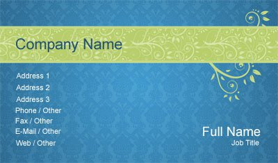 Blue and Green Paisley Business Card Template